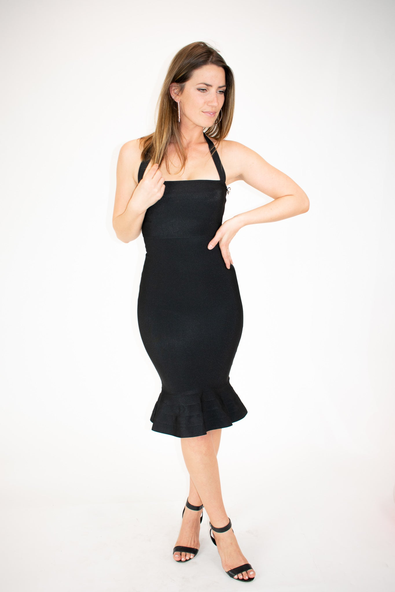 HALTER MERMAID DRESS IN BLACK