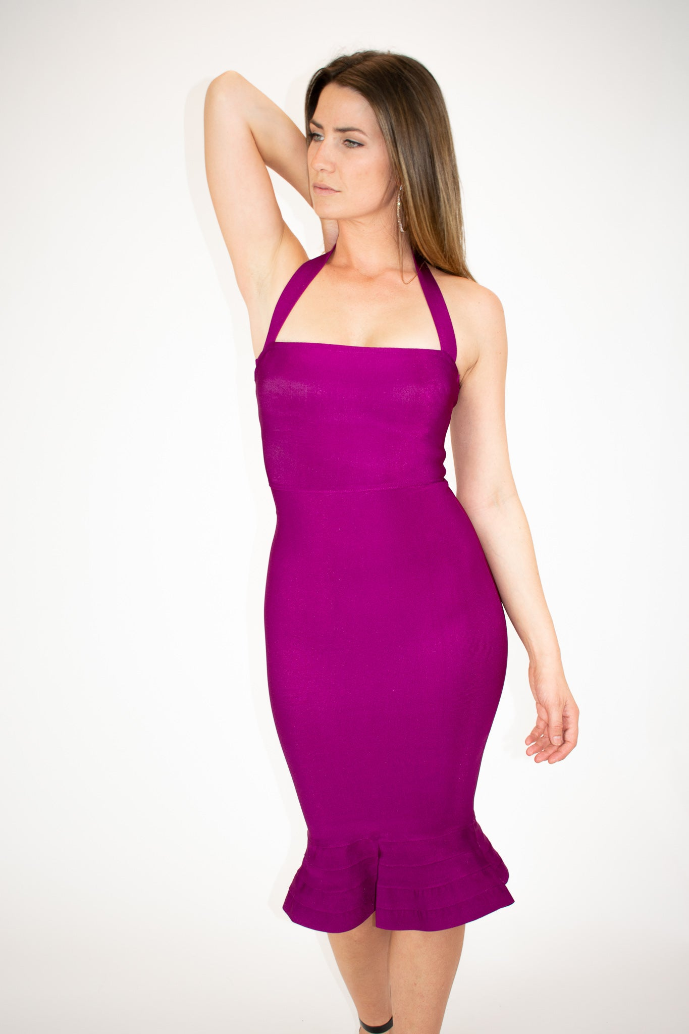 HALTER MERMAID DRESS IN BERRY