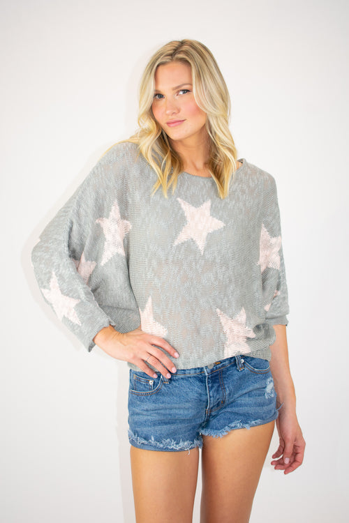 DOLMAN SLEEVED STAR SWEATER