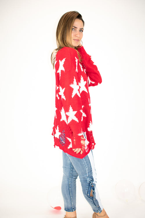 DISTRESSED OVERSIZE STAR SWEATER IN RED