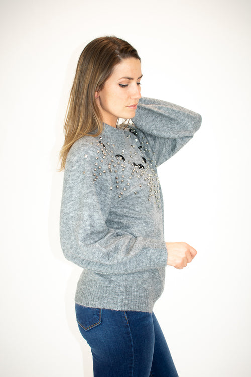 GREY BEADED SWEATER