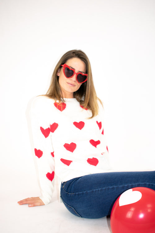 HEART ALL OVER SWEATER
