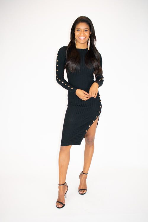 SNAP BUTTON SLIT MIDI DRESS / FINAL CLEARANCE