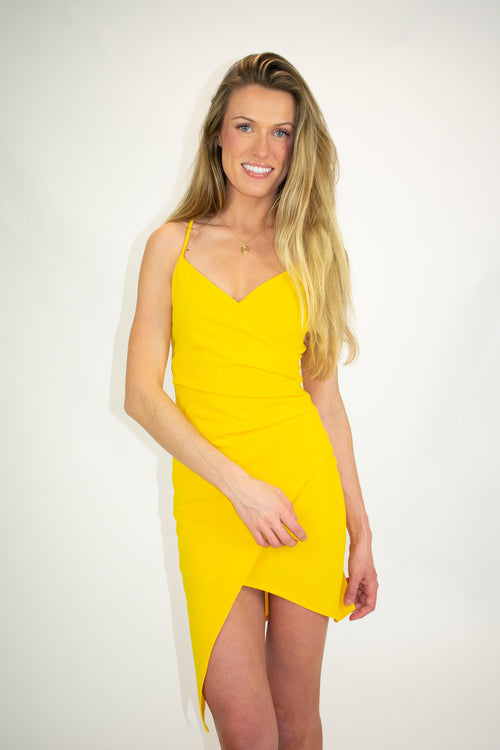 ASYMMETRICAL YELLOW MINI STRAP DRESS
