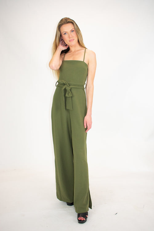 OLIVE SIDE SLIT JUMPSUIT