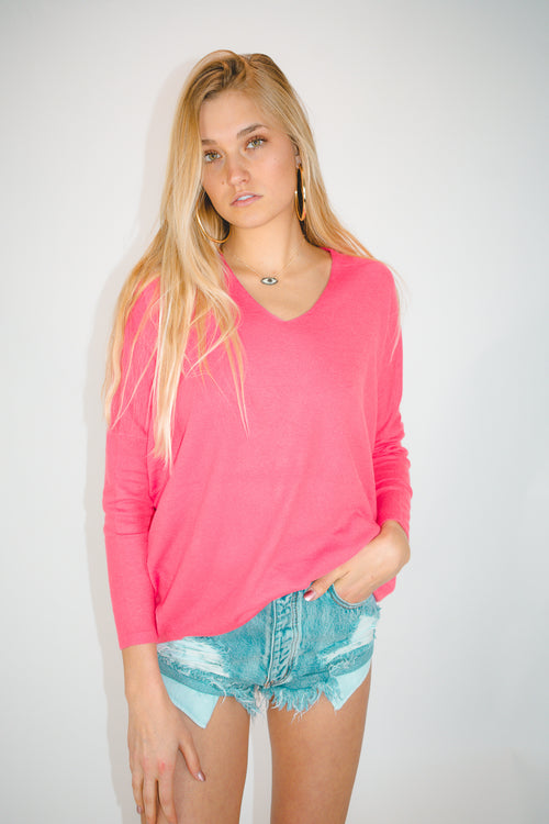 SOFT OVERSIZE PULLOVER IN PINK