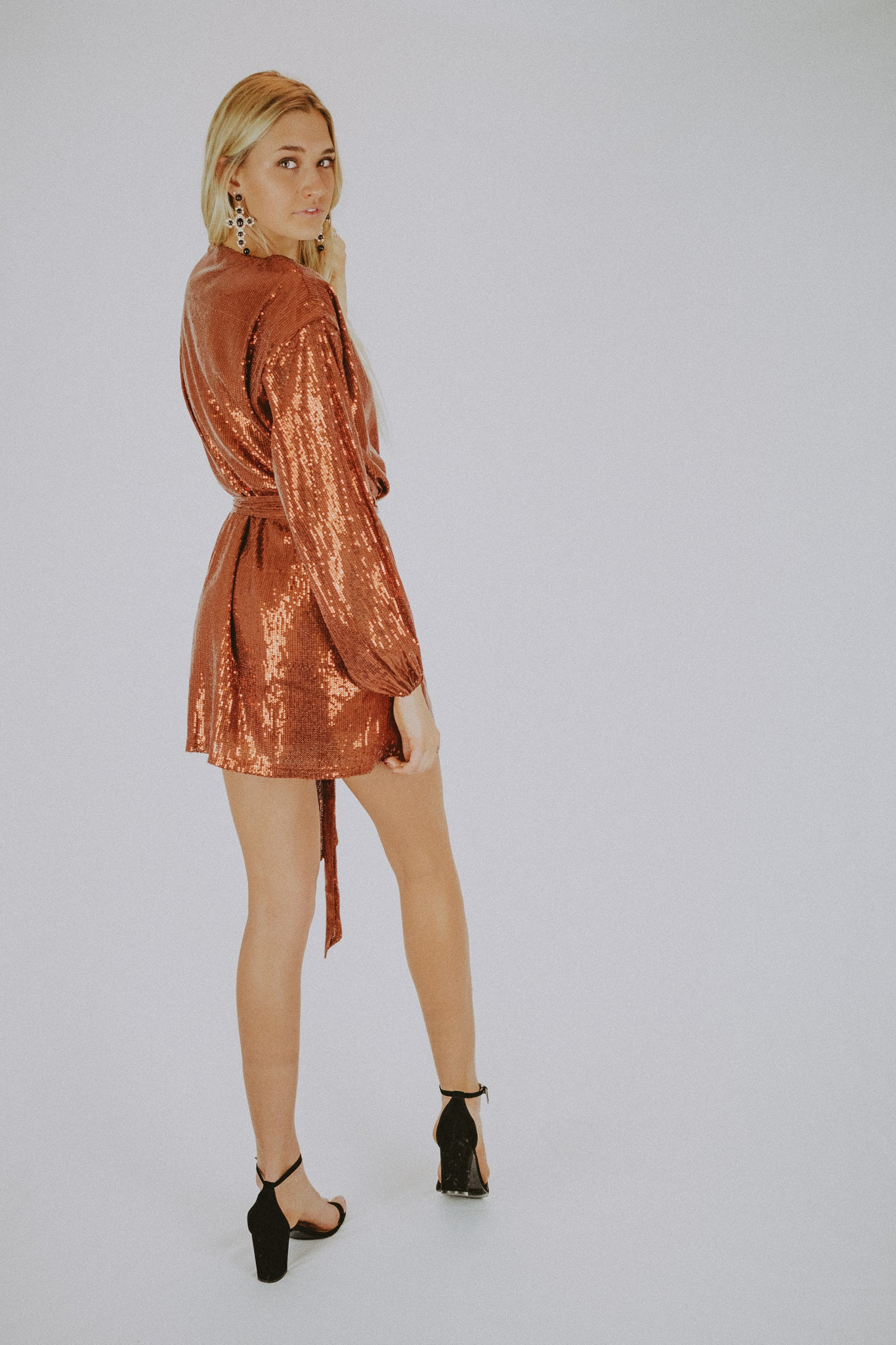 COPPER SHINE WRAP DRESS