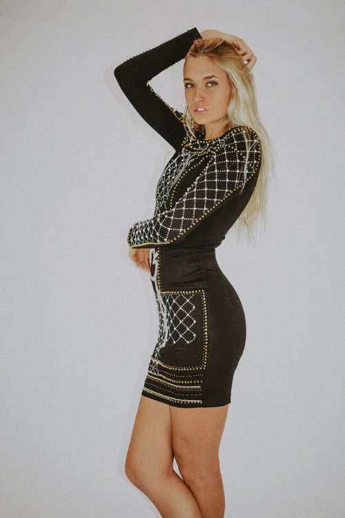 WORTH IT BEADED MINI DRESS