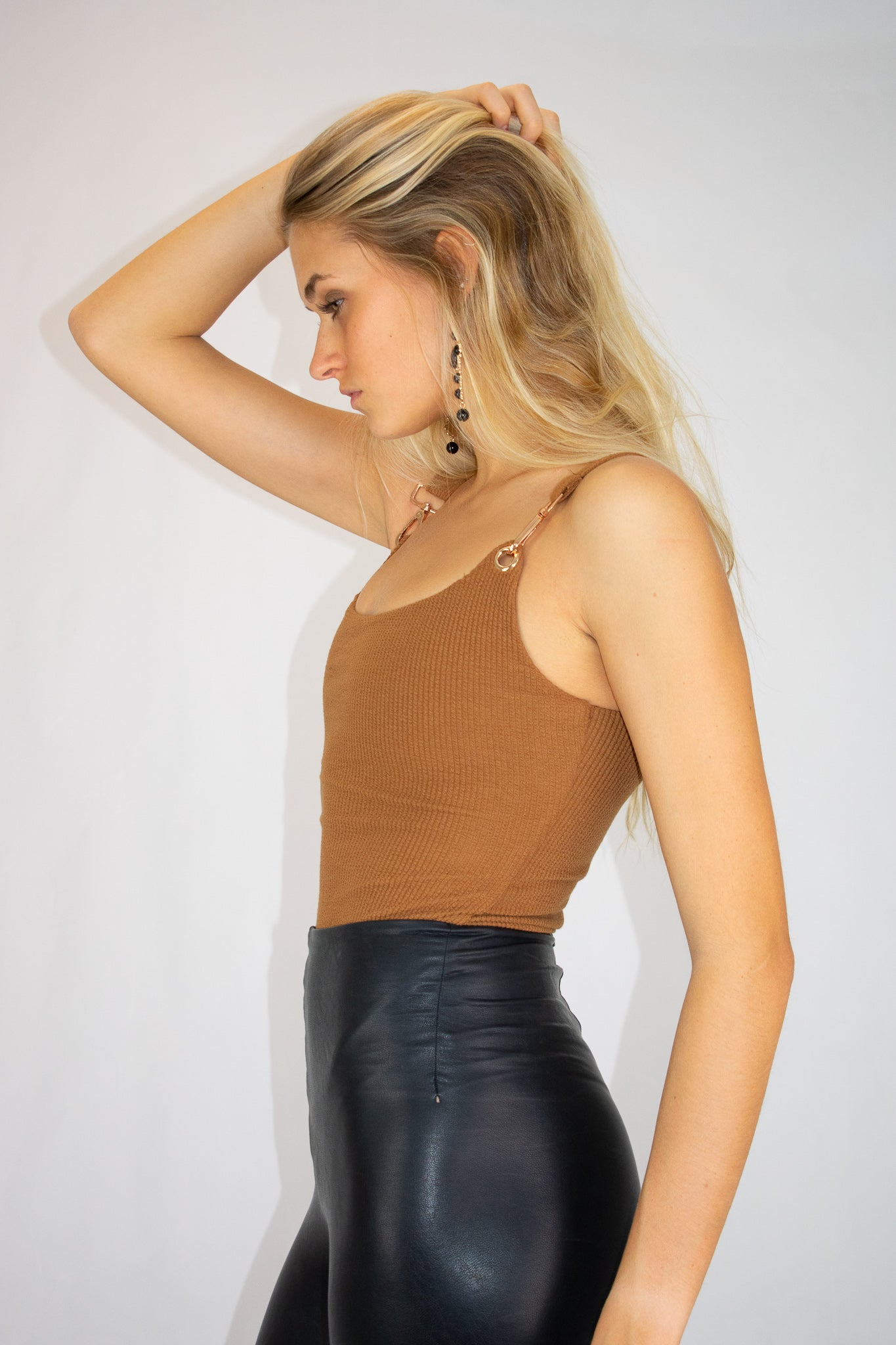 BUCKLE UP BODYSUIT IN CAMEL