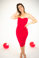 RED TUBE MIDI DRESS