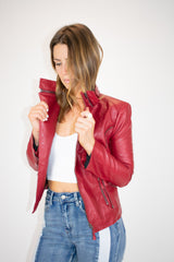 HIGH QUALITY RED MOTO JACKET