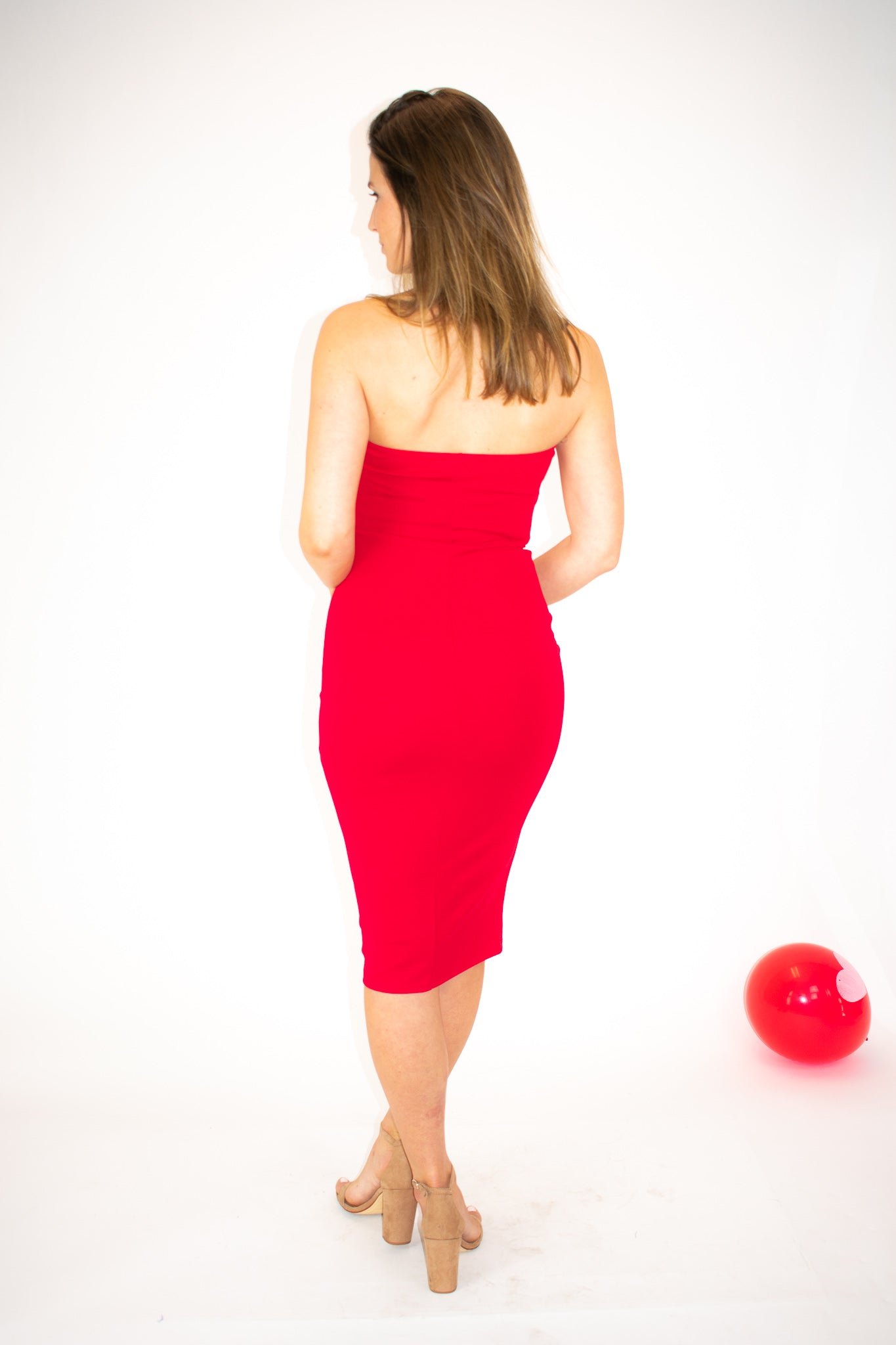 RED TUBE MIDI DRESS / FINAL CLEARANCE