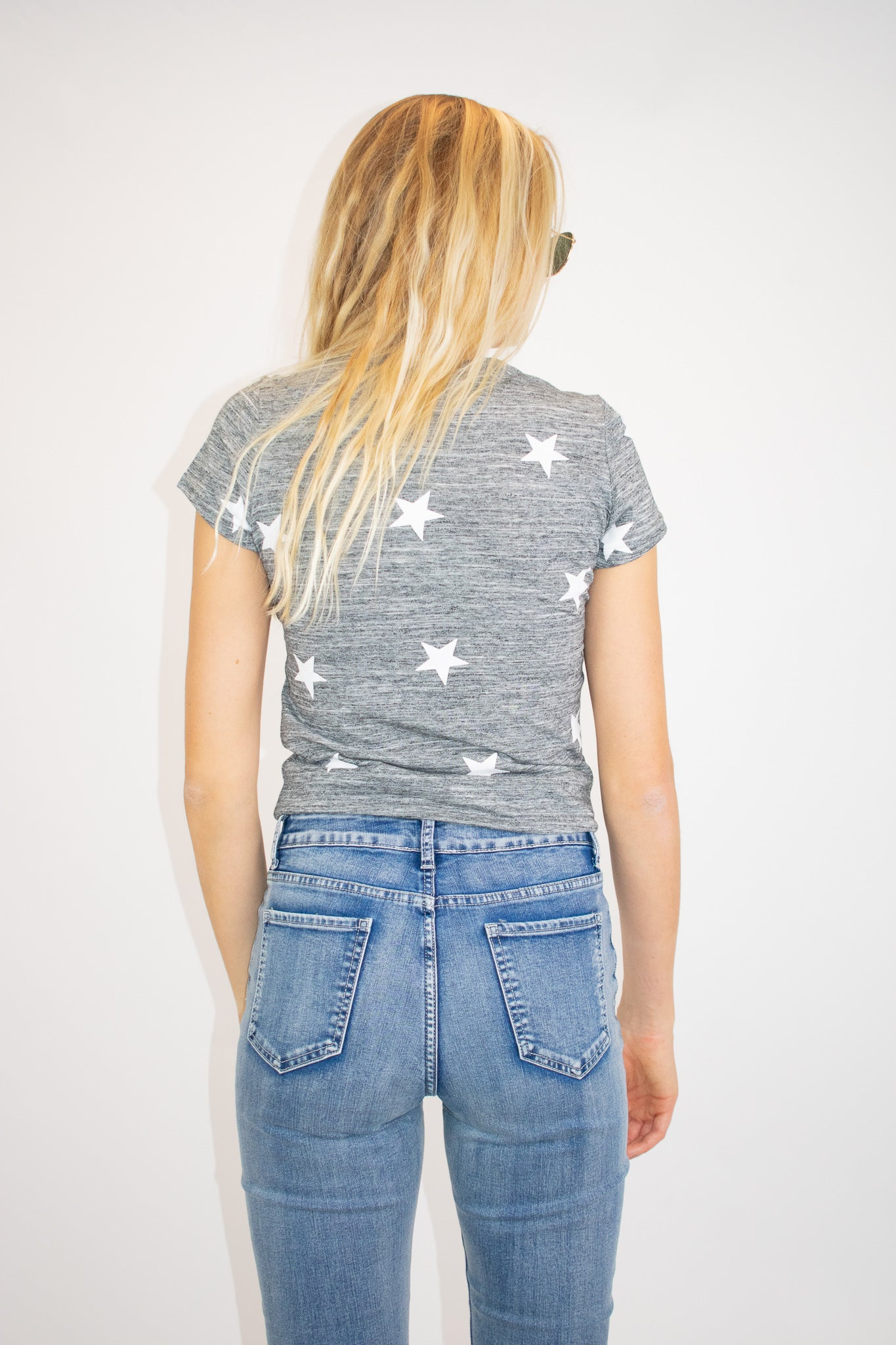 SOFT STAR TEE IN MARBLED CHARCOAL