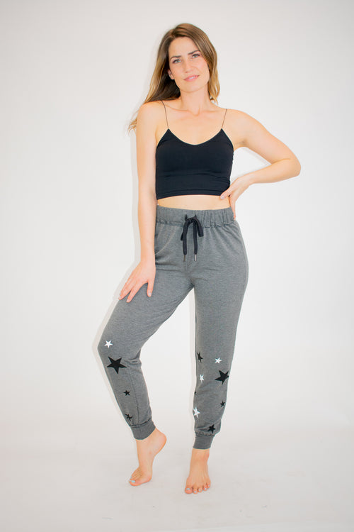 TERRY + RIBBED STAR PRINT JOGGERS