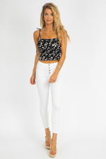 BLACK DAISY CROP TANK