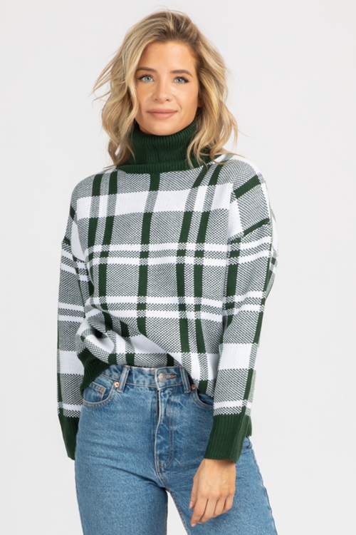 DARK GREEN PLAID TURTLENECK KNIT