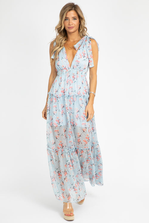 DEEP V TIERED FLORAL MAXI