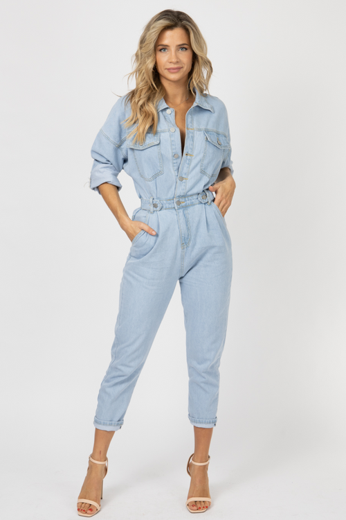 DENIM BELTED UTILITY JUMPSUIT