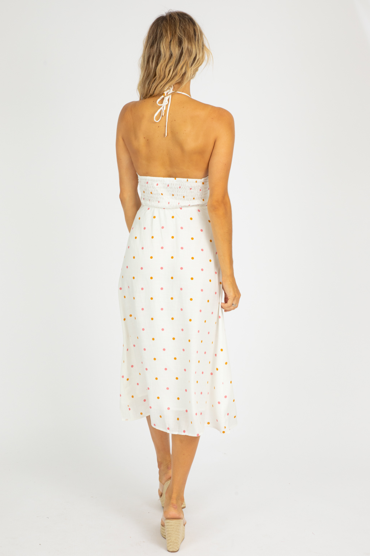 POLKA DOT CUTOUT MIDI DRESS