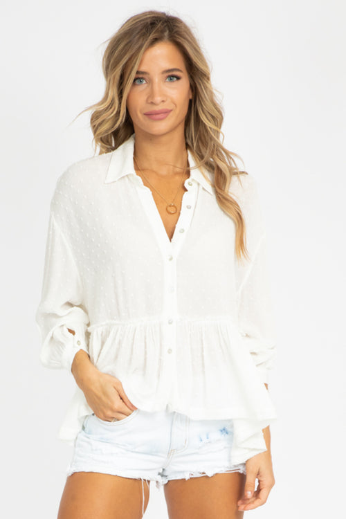 WHITE DOTTED BUTTON UP BLOUSE