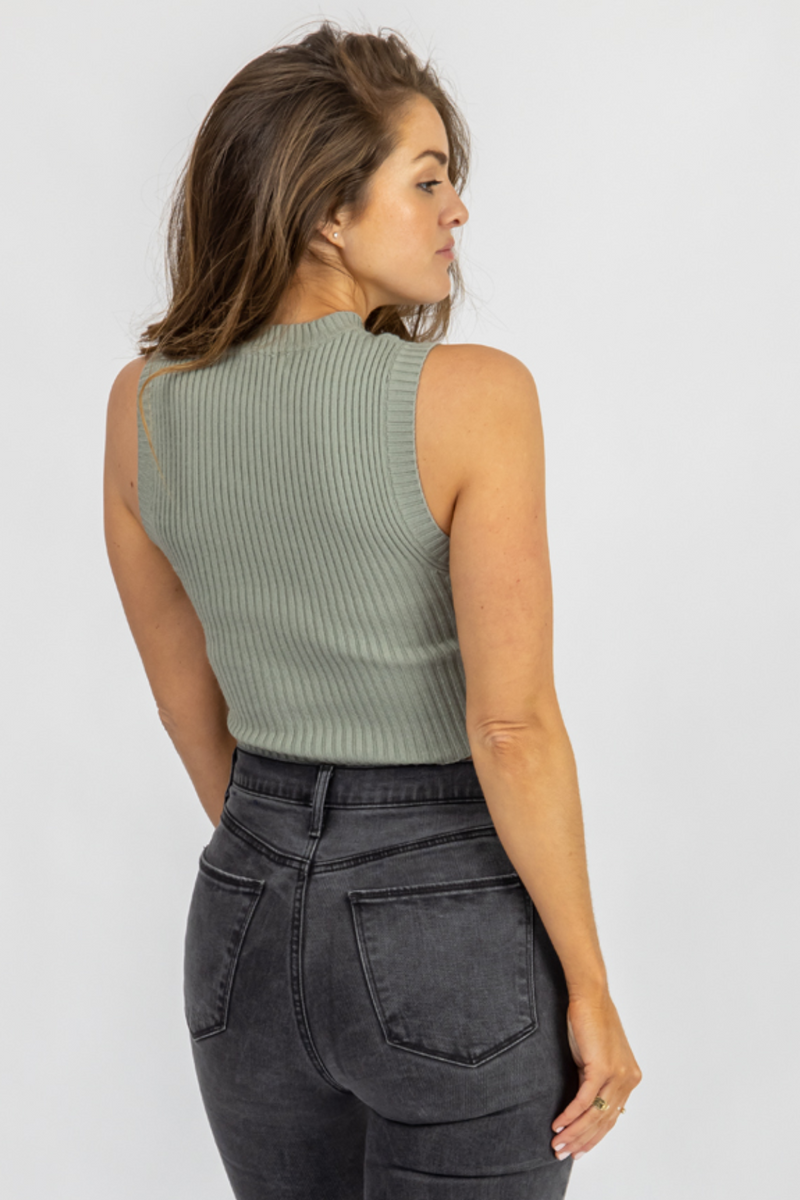 DUSTY SAGE RIBBED KNIT TANK