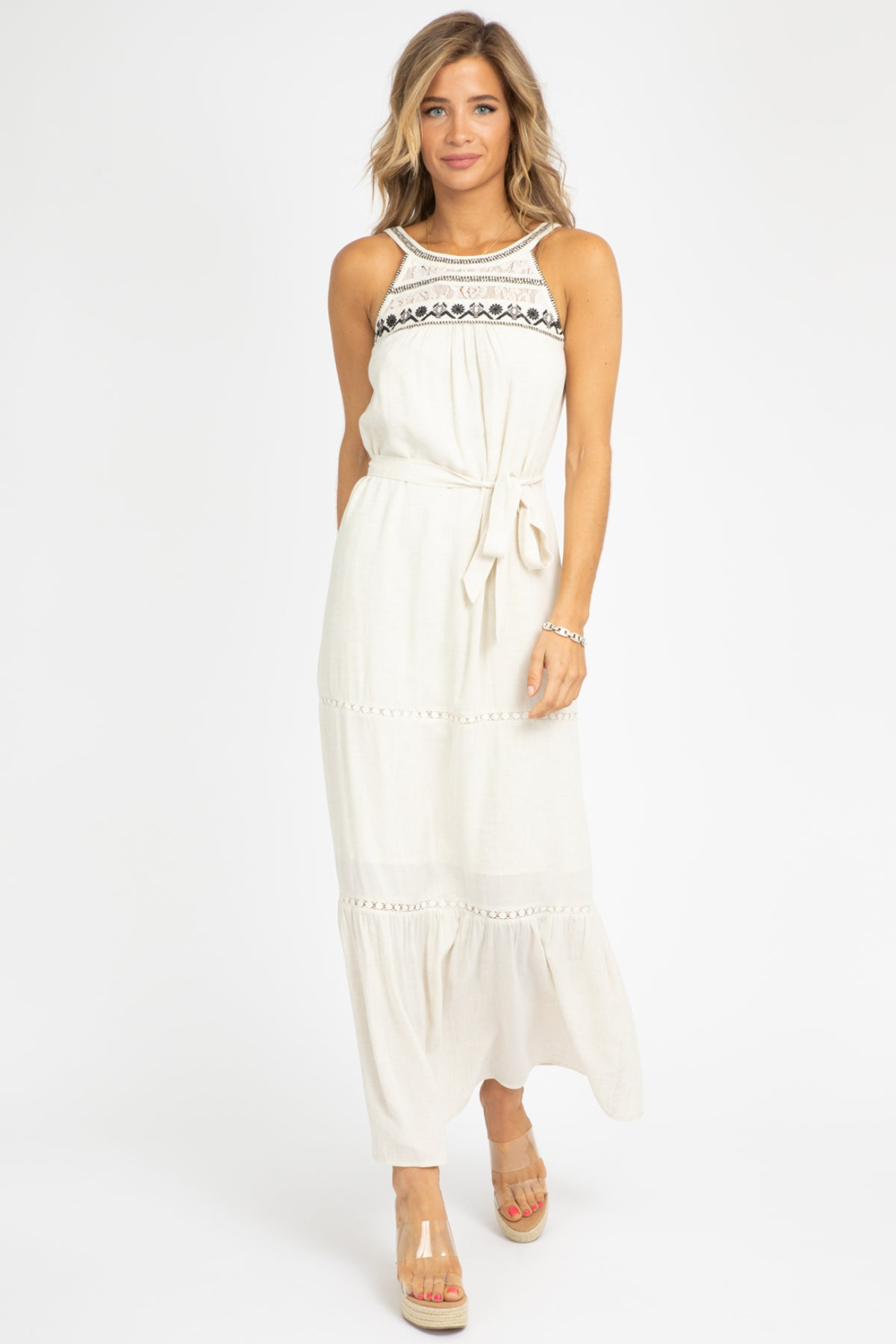 EMBROIDERED HALTER MAXI