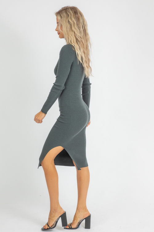 PINE RIBBED MOCK NECK MIDI