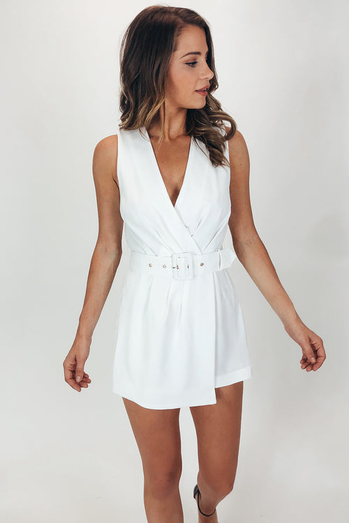 RUCHED SURPILICE BELTED ROMPER