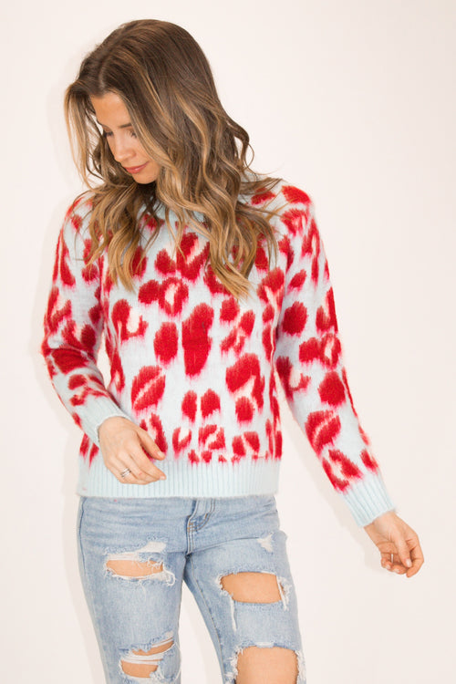LEOPARD KNIT SWEATER IN SKY BLUE