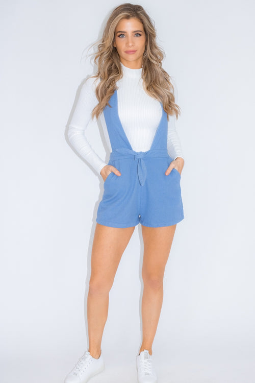 BLUE WOVEN OVERALL ROMPER