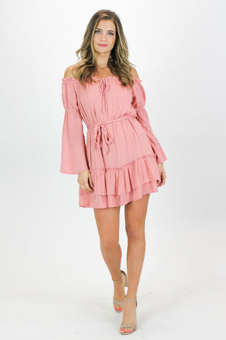 PEACH RUFFLE DETAIL DRESS