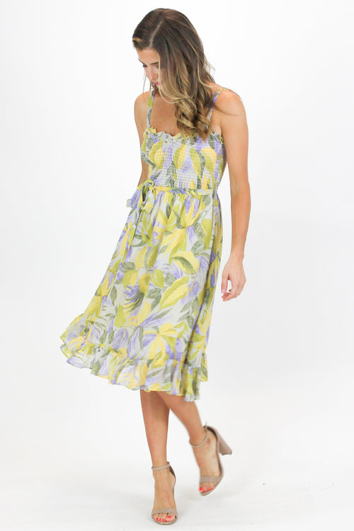 TROPICAL FLOW DRESS IN YELLOW