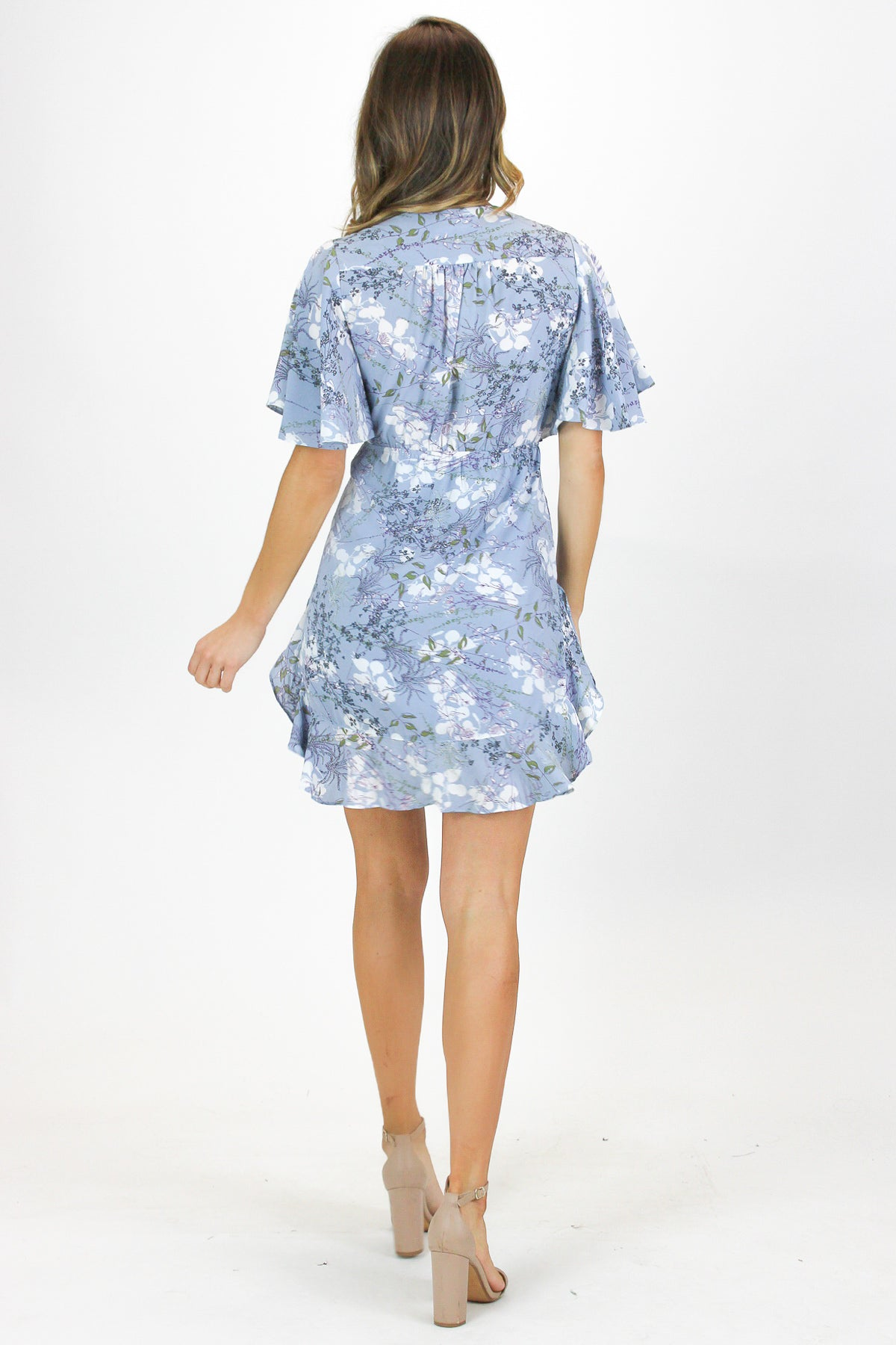 BABY BLUE FLORAL TUNIC DRESS