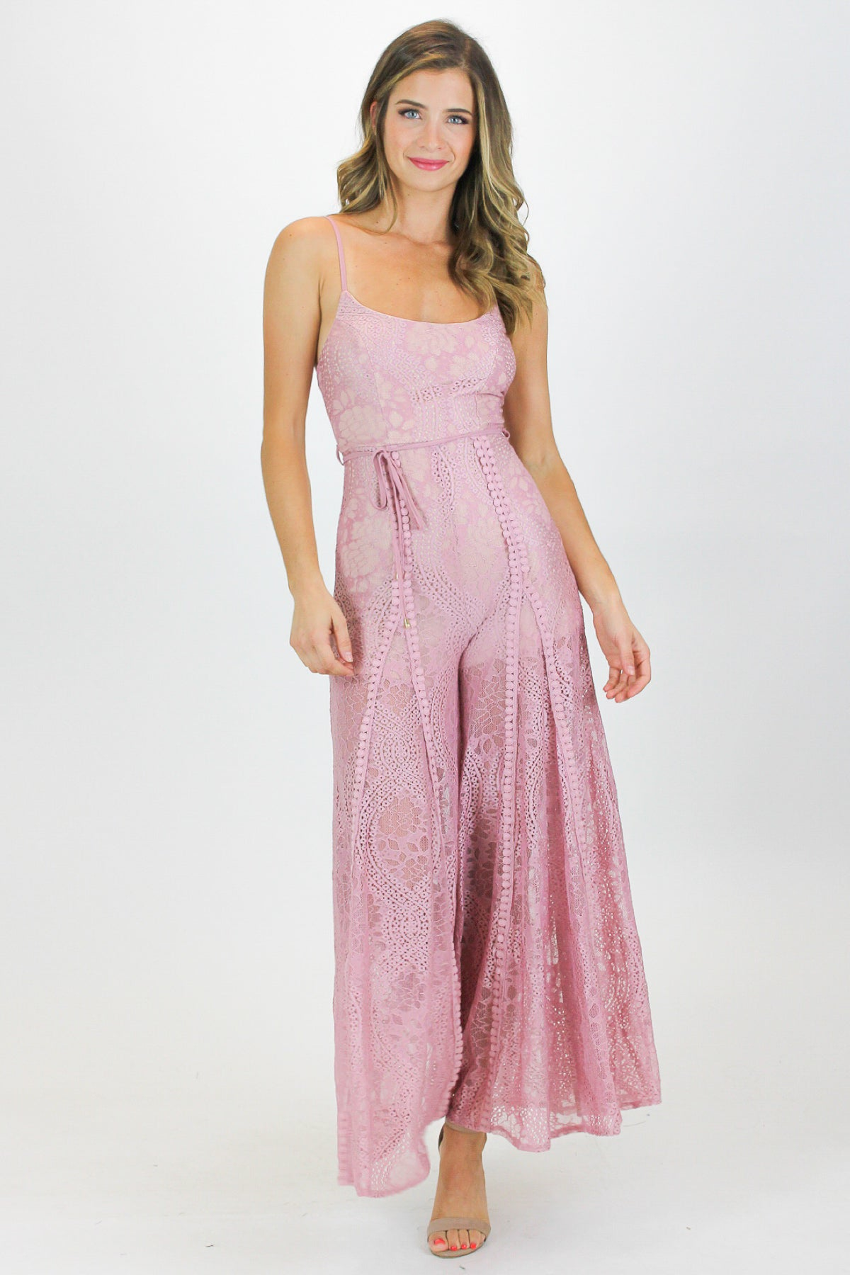 BLUSH CROCHET WIDE LEG JUMPSUIT / FINAL CLEARANCE