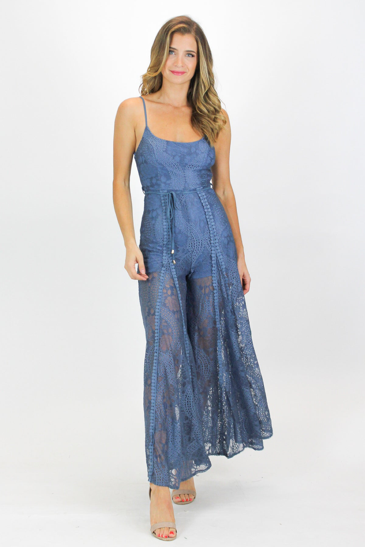 BLUE CROCHET WIDE LEG JUMPSUIT