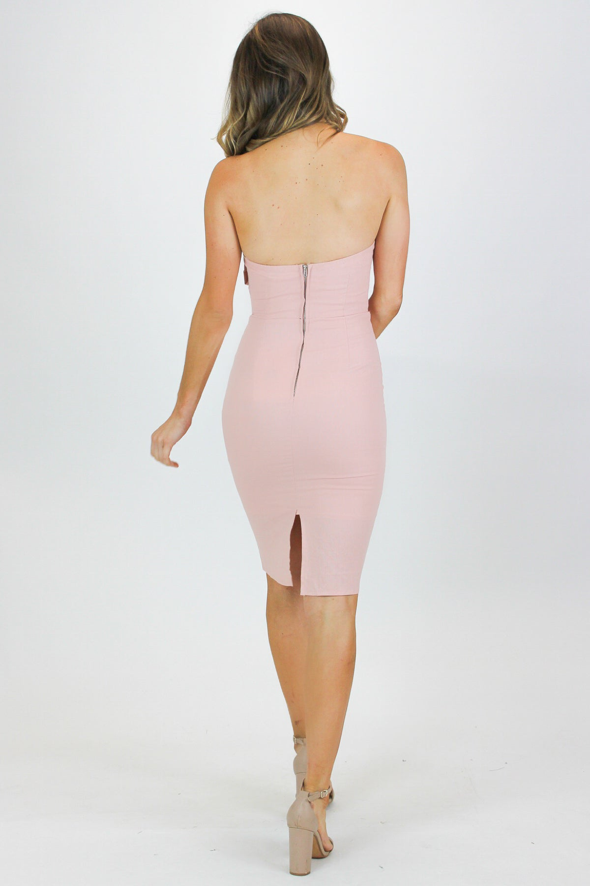 BLUSH SWEETHEART MIDI DRESS