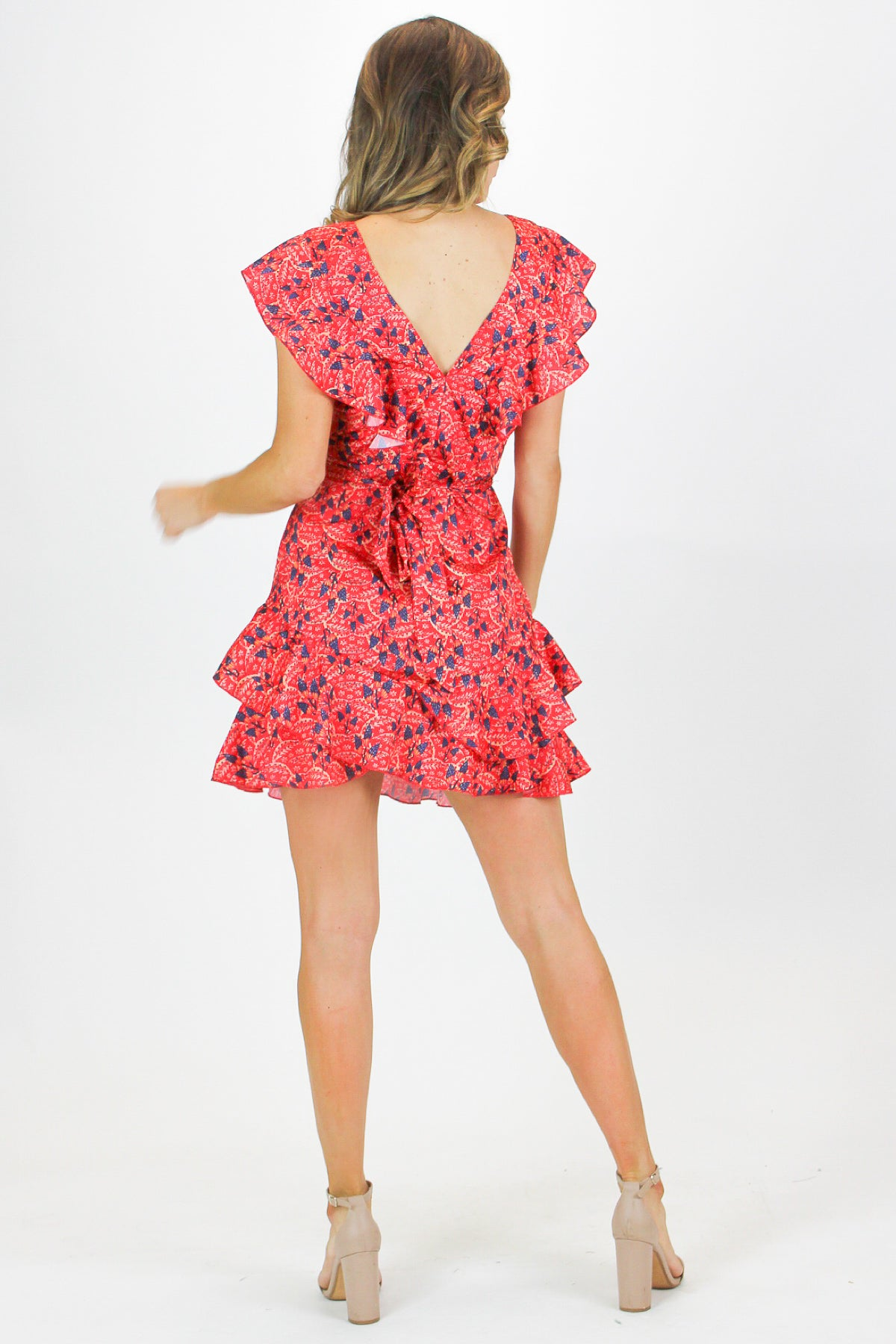 RED RUFFLE PRINTED DRESS