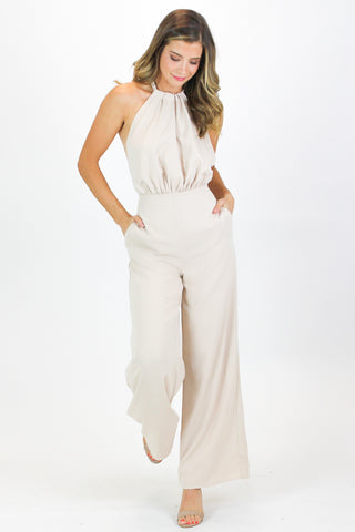BLUSH CROCHET WIDE LEG JUMPSUIT