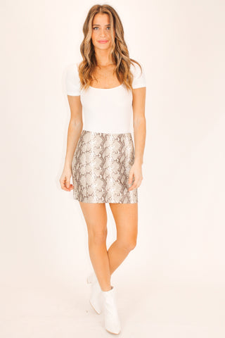LEOPARD SLIT MINI SKIRT