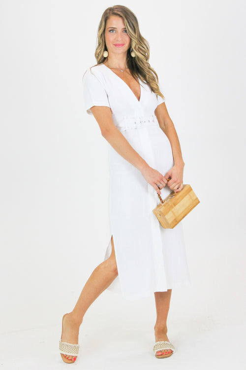 LINEN RAW EDGE BELTED DRESS/COVER UP