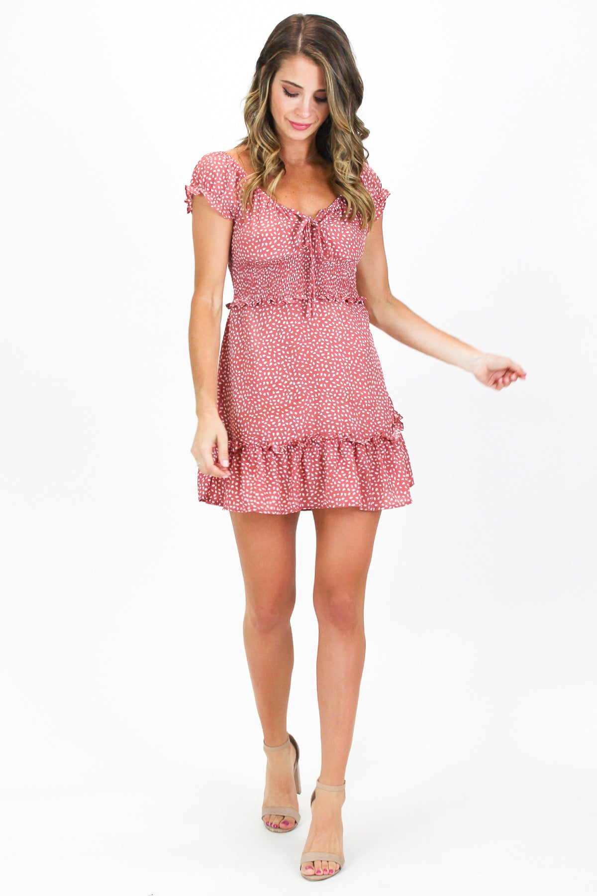 CORAL PATTERNED RUFFLE DRESS