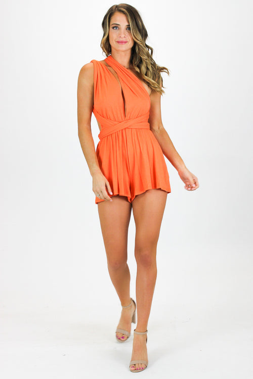 HOT-ORANGE MULTI WRAP ROMPER