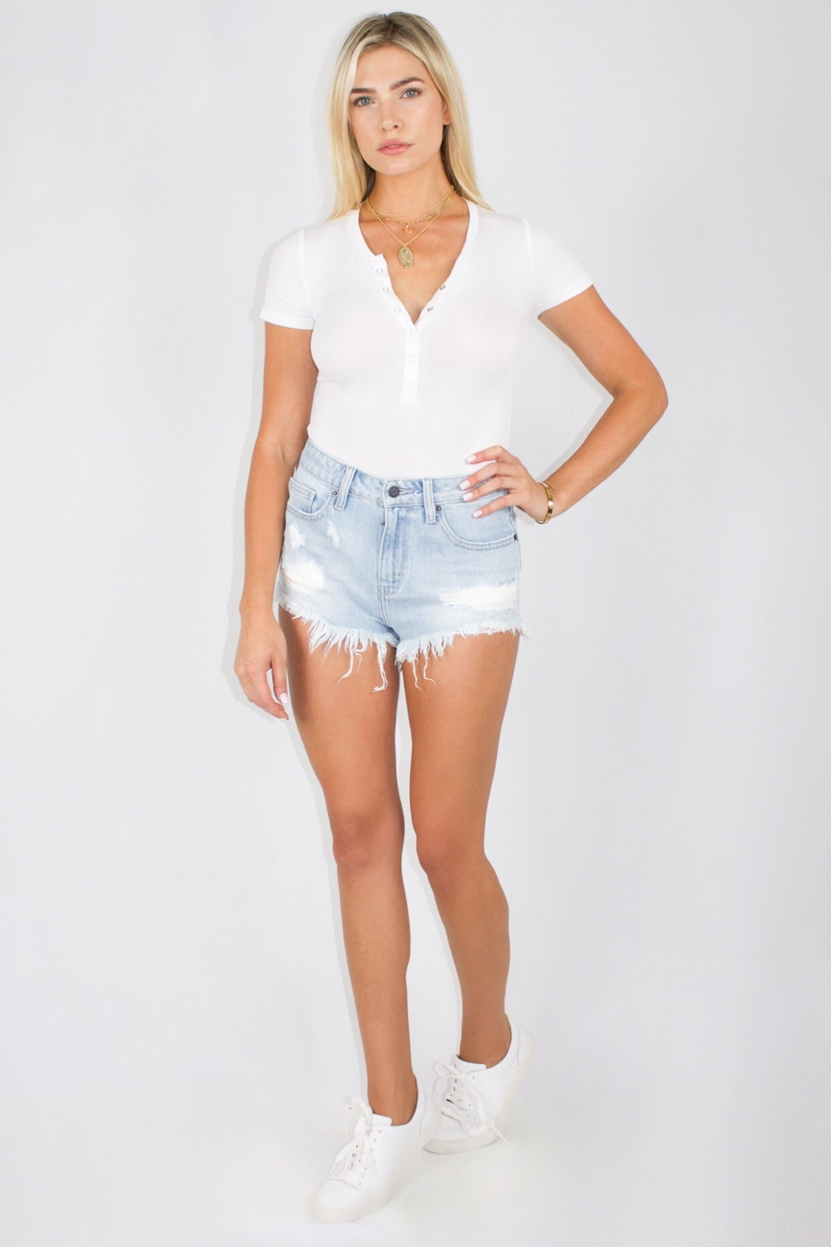 HENLEY BODYSUIT IN WHITE