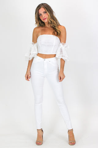 WHITE BUCKLE STRAP BODYSUIT