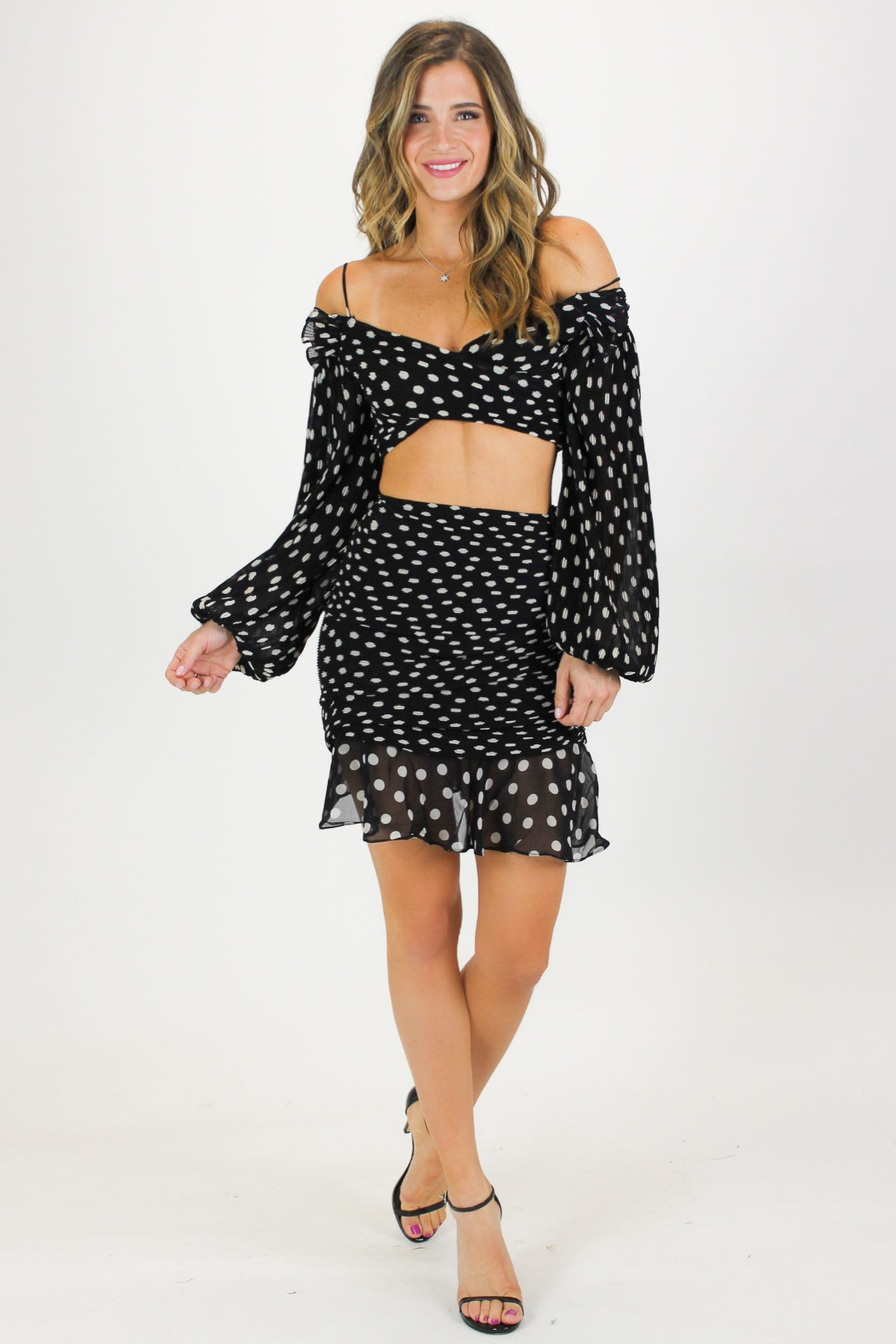 POLKA DOT RUCHED SKIRT