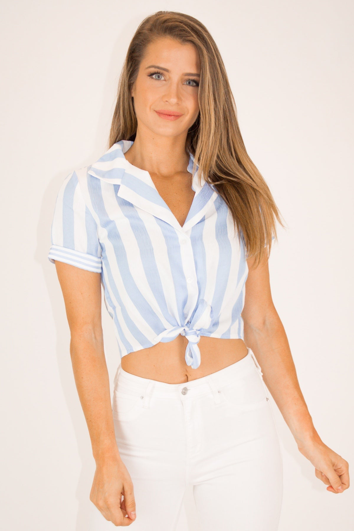 BABY BLUE BUTTON UP CROP TOP