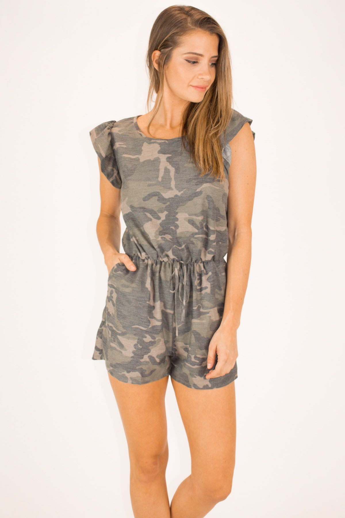 FRENCH TERRY CAMOFLAGE RUFFLE ROMPER