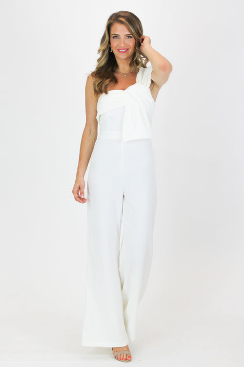 BOW ONE SHOULDER JUMPSUIT