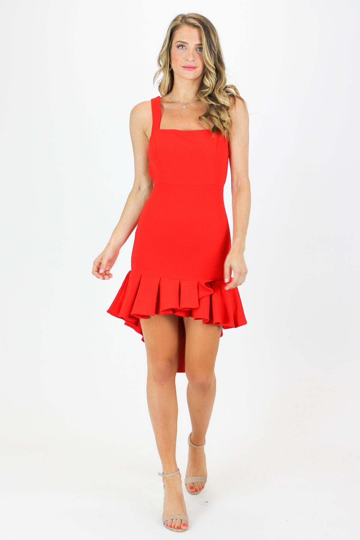 RED BODYCON DRESS WITH PLEATED BOTTOM