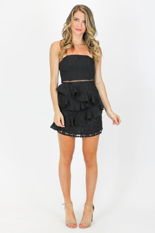 STRAPLESS RUFFLED BLACK MINI DRESS